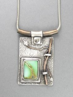 Necklace | Hadar Jacobson. Fine silver (PMC), copper, turquoise, sterling silver