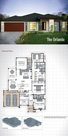 Modern House Floor Plans, Home Design Floor Plans, Dream House Plans, Small House Plans, Modern House Design, Single Storey House Plans, One Storey House, 4 Bedroom House Plans, French Country House Plans