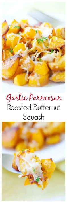 Garlic Parmesan Roasted Butternut squash - sweet tender butternut squash roasted with butter, garlic & Parmesan cheese. So AMAZING you want it every day!