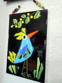 Fused Glass Blue Bird Plaque Whimsical Decor by jodysart on Etsy, $26.99