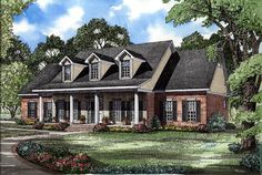 Cape Cod house plans are simple yet effective. Originally designed to withstand severe New England winters, this Colonial style home plan features a straightforward exterior and a symmetrical design. Colonial House Plans, Southern House Plans, Colonial Style Homes, Country Style House Plans, Country Style Homes, Southern Homes, Dutch Colonial, Country Houses, Southern Style