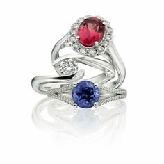 Ruby, sapphire and diamond ethical engagement rings from Ingle & Rhode - perfect for couples who want style and luxury without a conscience.  See more on the website