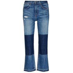 Rag & bone/JEAN 'Marilyn' letout cuff patch cropped jeans ($395) ❤ liked on Polyvore featuring jeans, blue, cuff jeans, cuffed cropped jeans, cropped jeans, selvedge denim jeans and highwaist jeans