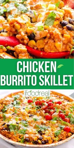 Chicken Burrito Skillet is a healthy one pan dinner with tender beans, flavorful rice and morsels of chicken topped with gooey cheese, cilantro, lime and green onion. I bet you can't wait to try this! Healthy One Pot Meals, Frozen Cauliflower Rice, One Pan Dinner, Dump Meals, Chicken Burritos, Low Sodium Chicken Broth, Diced Chicken, Frozen Corn, Skillet Chicken