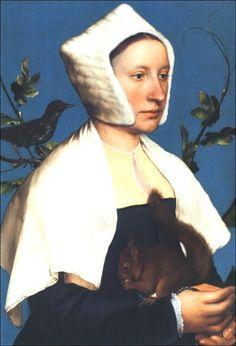 Hans Holbein el Joven (Alemania,1497-1543). Portrait de jeune femme avec écureuil, 1526