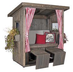 Garden lounge hut: two-seater wooden hut as a covered garden bench with comfortable . Gazebo On Deck, Cedar Pergola, Pallet Furniture, Outdoor Furniture, Outdoor Decor, Outdoor Lounge, Wooden Hut, Covered Garden, Bedroom Murals