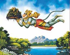 Hanuman increased His size to a giant figure to carry the mountain called 'Sanjeevani' which had medicinal plants in it, which could save the life of Laxman, Lord Ram's brother, who was injured in the war against Ravana. Hanuman Photos, Shiva Photos, Hanuman Images, Hanuman Chalisa, Durga, Hanuman Murti, Hanuman Ji Wallpapers, Lord Rama Images, Lord Shiva Family