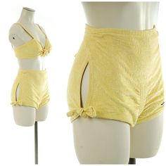 f8000bcf3d89d RESERVED Vintage 1940s Bathing Suit - Exceptional Rare 40s Sunshine Yellow  Terrycloth 30s Lastex Stretch Two Piece Swimsuit with Open hips