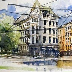 Solli-Plas Oslo part 1. Watercolor on paper 75minutes 1530cm. #solliplass #norway #europe #sketch #watercolor #biketouring #biketrip