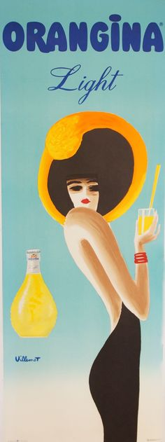 Bernard Villemot Femme de profil tenant un verre d'orangina.