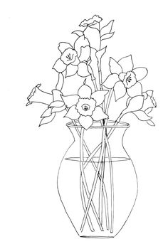 Daffodils in Vase pattern - for painting, crafts, embroidery, clipart, appliques, scrapbooking and more!