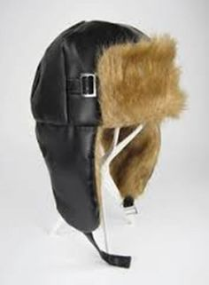 ff4826f83e7 Brown Soft Vinyl Faux Fox Fur Aviator Hat Ear Flaps Adult Costume Accessory  New