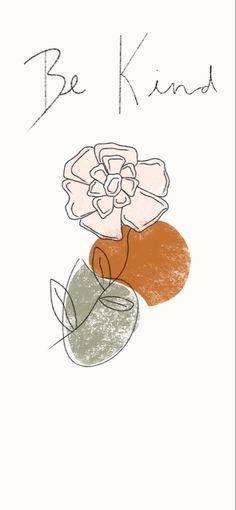 Modern Boho Terra-cotta Mid Century Modern Be Kind Floral Iphone Wallpaper!