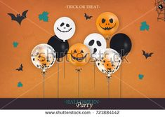 Halloween Party. Trick or treat. Holiday design with colorful balloons, falling leaves, halloween spider web, halloween bat for banner, poster, greeting card, party invitation. vector illustration.