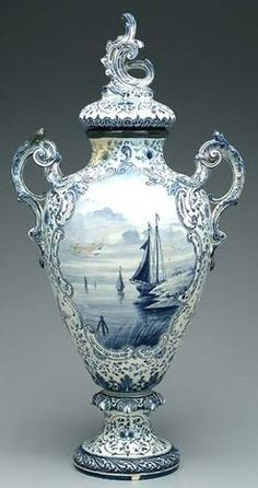 an antique urn with more elaborate designs and finishing pieces...also an earlier piece....would be more expensive....