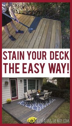 Tricks to stain your deck quickly and easily! I also like the idea of making a wood deck over the top of a concrete patio. I wonder if I can talk hubby into this. Outside Living, Outdoor Living, Outdoor Projects, Home Projects, Outdoor Spaces, Outdoor Decor, Decks And Porches, Building A Deck, Interior Exterior