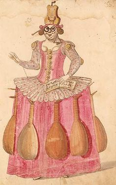 The Entry of the Music in the burlesque Ballet des Fees de la Foret de Saint Germain performed in 1625 at the Court of Louis XIII. Everything in the costume designed by Daniel Rabel shows her association with music, the baton and musical score, and the lutes hanging from her skirt. In her earring is a triangle, and her headdress is another instrument called a theorbo.