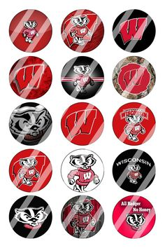"""Wisconsin Badgers Bottle Cap 1"""" Circle Images #1 (instant download or pre cut)"""