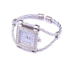 White Fashion Stylish Lady Women Girl Roman Numerals Dial Square Bracelet Wrist Watch - $12