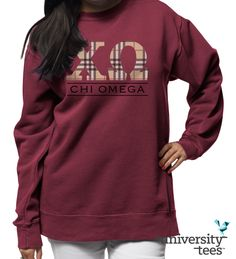 Simple, classy, and oh-so cozy   Chi Omega   Made by University Tees   www.universitytees.com