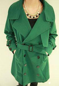 OL Style Double Breast Slim Sash Lapel Trench Coat