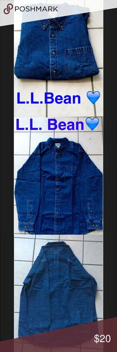L.L. Bean Button Down Top *Never been worn* this is a classic L.L. Bean denim button down top. Selling it for a very cheap price! Thanks -Shay L.L. Bean Tops Button Down Shirts