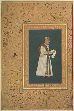 """""""Portrait of Mulla Muhammad Khan Vali of Bijapur"""", Folio from the Shah Jahan Album Artist: Painting by Hashim (active 1620–60) Calligrapher: Mir 'Ali Haravi (d. ca. 1550) Object Name: Album leaf Date: recto: ca. 1620; verso: 1537–47 Geography: India Culture: Islamic Medium: Ink, opaque watercolor, and gold on paper Dimensions: H. 15 5/16 in. (38.9 cm) W. 10 3/16 in. (25.9 cm)"""