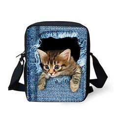 Animals Cat Handbag Women Girl Messenger School Bag Sling Cross Body Purse Teens