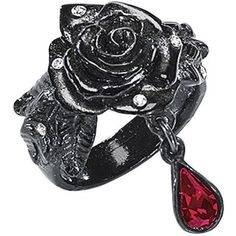 Black Rose Ring (130 AUD) ❤ liked on Polyvore featuring jewelry, rings, accessories, rose, black, celtic pendants, gothic jewelry, fancy jewelry, rose pendant and rose jewellery