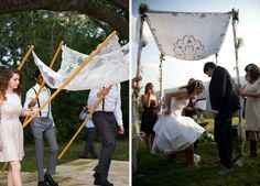 If you're having a Jewish ceremony, ask four friends to each hold a piece of the Chuppah.