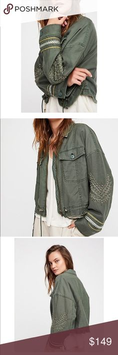 Free People Embellished Jacket Cropped military jacket featuring a cool frayed hem with beautiful embroidery and stud accents throughout. The fit is like an oversized jacket. Free People Jackets & Coats