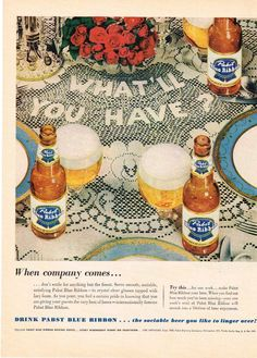 Paper Ads Pabst Blue Ribbon Beer Pabst Brewing Company Milwaukee WI USA  At the elegant table, lace table cloth.