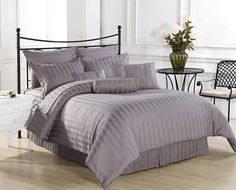 EGYPTIAN Bedding- 600 Thread Count Duvet Cover Set UK Double Silver Grey Striped 100% Egyptian Cotton: Amazon.co.uk: Kitchen & Home