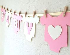 """Items similar to Baby One-Piece Bodysuit """"BABY GIRL"""" Baby Shower Banner: Pink and Green Baby Girl Shower Decoration on Etsy Deco Baby Shower, Baby Girl Shower, Baby Shower Gifts, Fiesta Shower, Shower Party, One Piece Bodysuit, Baby Bodysuit, Baby Girl Letters, White Baby Showers"""