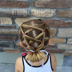 Today I did a fun criss-crossing elastic style with a low flip bun at the bottom! This look reminds me of a corset!  #toddlerhair #toddlerhairideas #toddlerhairstyles #cutetoddlerhair #cutegirlhair #hairideas #toddlerstyle #easyhairstyle #easyhairstyles #littlegirlhair #hairgoals #littlegirlhairstyle #toddler  #hairstylesforgirls #kidhair #kidhairstyles #toddlersofIG #toddlersofinstagram #cutehair #hairoftheday #funhair #braidtrends #princesshair #braidsforlittlegirls #instabraid…