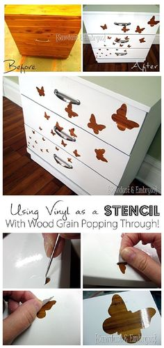 DIY - How to use Vinyl as a Stencil to paint furniture and let the wood grain still show through!  Do it Yourself Project Step by Step painting technique tutorial {Reality Daydream}