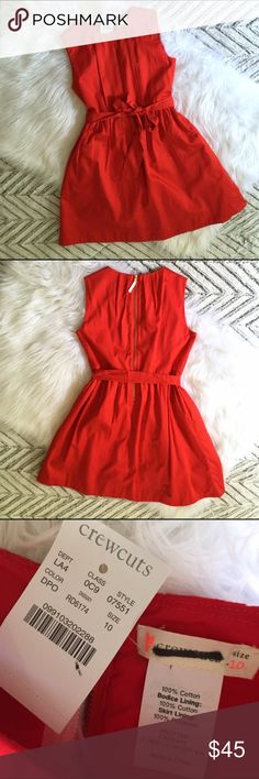 J Crew Girls' party dress in cotton sateen 10 NWT J Crew Crewcuts Girls' red party dress in cotton sateen, size 10. With pretty pleats and an adorable party-ready bow, this style is ready for any fête. New with Tag; label marked through.  Cotton. Back zip. On-seam pockets. Lined. Machine wash. Fit-and-flare silhouette. Falls above knee J. Crew Dresses Formal