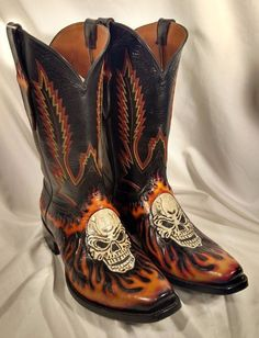 Cowboy Boots with skulls for men.   Boots   Pinterest   Skulls ...