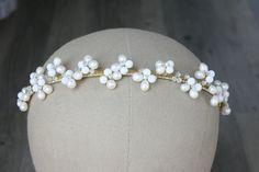 Wedding Hair, Bridal Headpiece, Bridal Tiara, Butterfly Headband, Bridal Fascinator, Wedding Hair Band, Pearl Headband, Crystal Crown by jewelboxballerina on Etsy