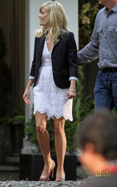 Reese Witherspoon wearing Christian Louboutin Hyper Prive Peep-Toe Pumps in Nude, STELLA MCCARTNEY Lace mini dress,