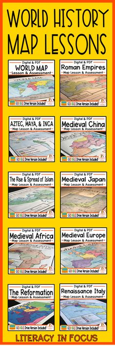 Ten World History map lessons for one low price! World Map, Roman Empires Map, Medieval Japan Map, Medieval China Map, Medieval Africa Map, Medieval Europe Map, Reformation Map, The Rise and Spread of Islam Map, Aztec/Maya/Inca Map, Renaissance Italy Map #worldhistory #maplesson #worldmaps