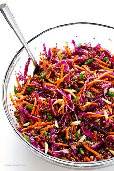 Easy Asian Quinoa Slaw Recipe and Nutrition - Eat This Much Asian Quinoa Salad, Quinoa Salat, Asian Salads, Healthy Asian Recipes, Vegetarian Recipes, Best Coleslaw Recipe, Coleslaw Recipes, Sauce Recipes, Salad Dressing Recipes