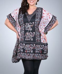 Another great find on #zulily! Black Elephant Kaftan Tunic - Plus by Ananda's Collection #zulilyfinds