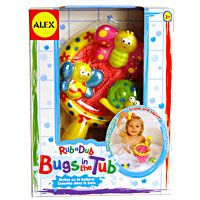 Bugs in the Tub and over 7,500 other quality toys at Fat Brain Toys. Send funny bug buddies floating in bubbles or fill them and watch them sink to the bottom of the sea. Press and squeeze out streams of water. Hand-eye coordination is splashing fun when little ones catch them in the net!