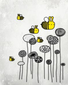 Busy Bees Cute kawaii simple pen and ink whimsical childrens style illustration of bees , flowers Art Print by WillowEyes, Art And Illustration, Illustrations, Doodle Art, Flower Doodles, Doodle Flowers, Draw Flowers, Bee Art, Whimsical Art, Art Plastique