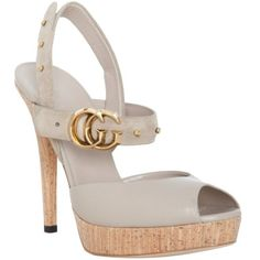 Gucci Stone Leather 'gg Running' Platform Sandals