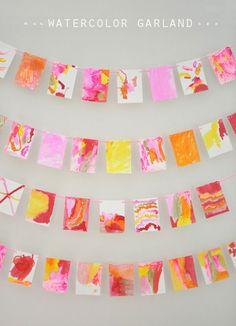 Fall Preschool Art Activities: Liquid Watercolor Q-Tip Painting Garland Projects For Kids, Art Projects, Crafts For Kids, Arts And Crafts, Paper Crafts, Diy Crafts, Hero Crafts, Q Tip Art, Diy Banner