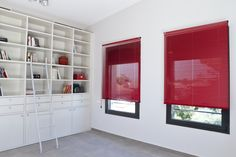 Clean, Modern, Chic Slim-line Blades for minimum window viewing obstruction Red Blinds, Shades Blinds, Store Lamelle, Store Venitien, Horizontal Blinds, Stores, Window Treatments, Windows, Curtains