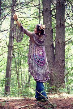 """Stevie"" Mandala Vest, a free crochet pattern for a circle vest duster."