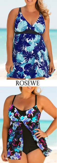 Plus Size Blue Printed Swimdress and Panty.#Rosewe#swimdress#womensfashion